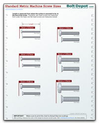 printable machine size chart