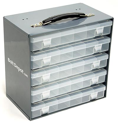 Small Plastic Compartment Boxes 5 Box Slide Rack